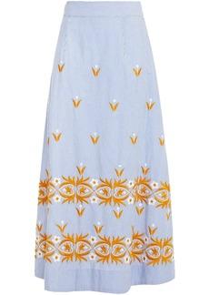 Antik Batik Woman Mexica Embroidered Striped Cotton Midi Skirt Light Blue