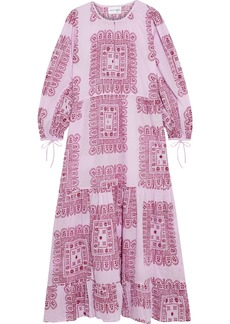 Antik Batik Woman Nalii Gathered Printed Cotton-voile Maxi Dress Baby Pink