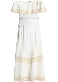 Antik Batik Woman Off-the-shoulder Cotton-gauze Midi Dress Ivory