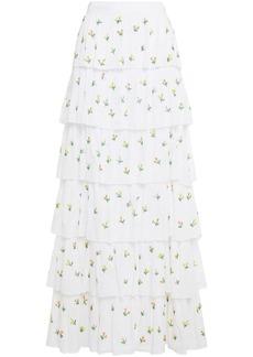 Antik Batik Woman Oriane Tiered Bead-embellished Cotton-mousseline Maxi Skirt White