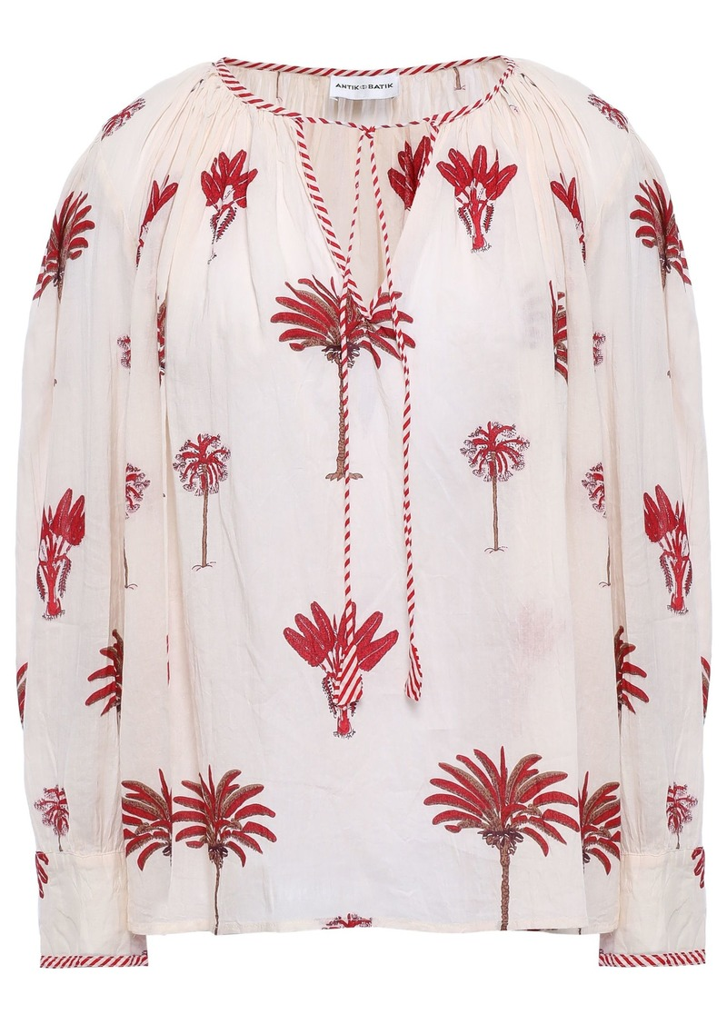 Antik Batik Woman Palmio Gathered Printed Cotton Blouse Cream