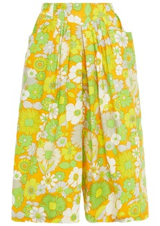 Antik Batik Woman Pleated Floral-print Cotton-poplin Culottes Marigold