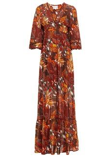 Antik Batik Woman Ramba Rickrack-trimmed Printed Cotton Maxi Dress Brown