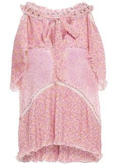 Antik Batik Woman Romina Pleated Floral-print Georgette Top Baby Pink