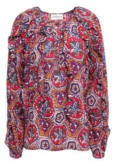 Antik Batik Woman Sam Lace-up Ruffled Printed Voile Blouse Crimson