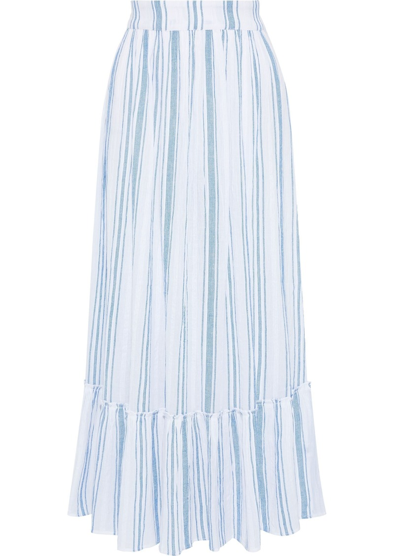 Antik Batik Woman Serifos Gathered Striped Cotton-gauze Maxi Skirt Light Blue