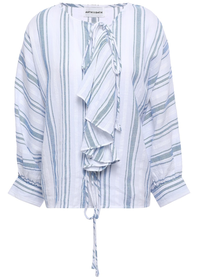 Antik Batik Woman Serifo Ruffle-trimmed Striped Cotton-gauze Blouse Blue