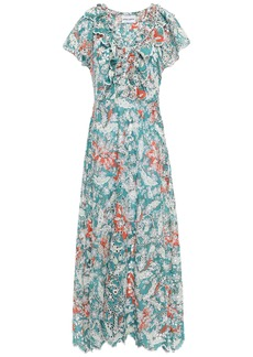 Antik Batik Woman Shiffly Ruffled Floral-print Broderie Anglaise Cotton Midi Dress Teal
