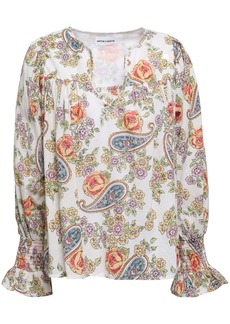 Antik Batik Woman Vika Printed Cotton Blouse Ecru