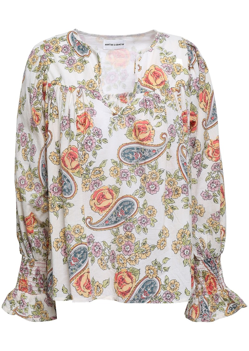 Antik Batik Woman Vika Printed Cotton Blouse Ecru