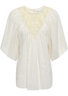 Antik Batik Woman Lace-paneled Metallic Pinstriped Cotton-blend Top Cream
