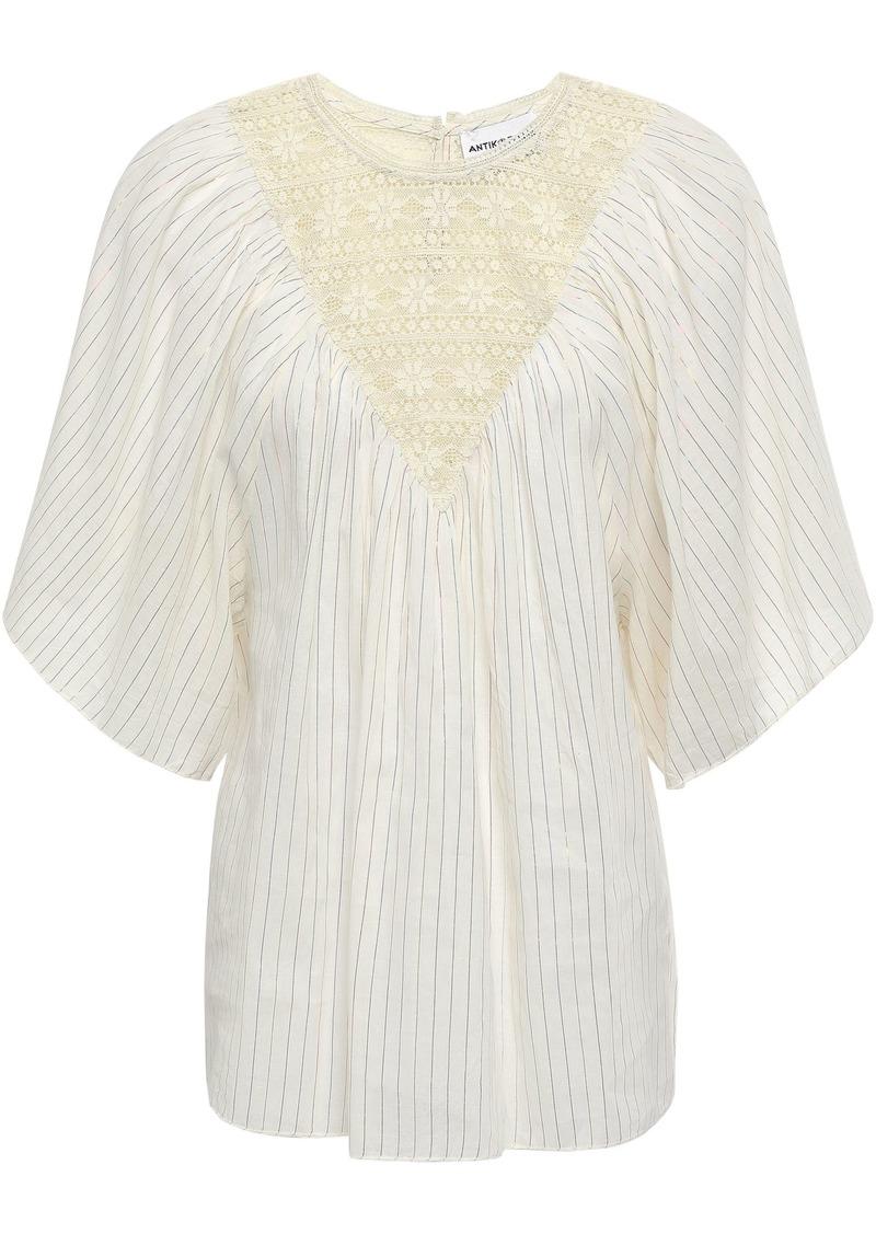 Antik Batik Woman Lace-paneled Metallic Pinstriped Cotton-blend Top Cream