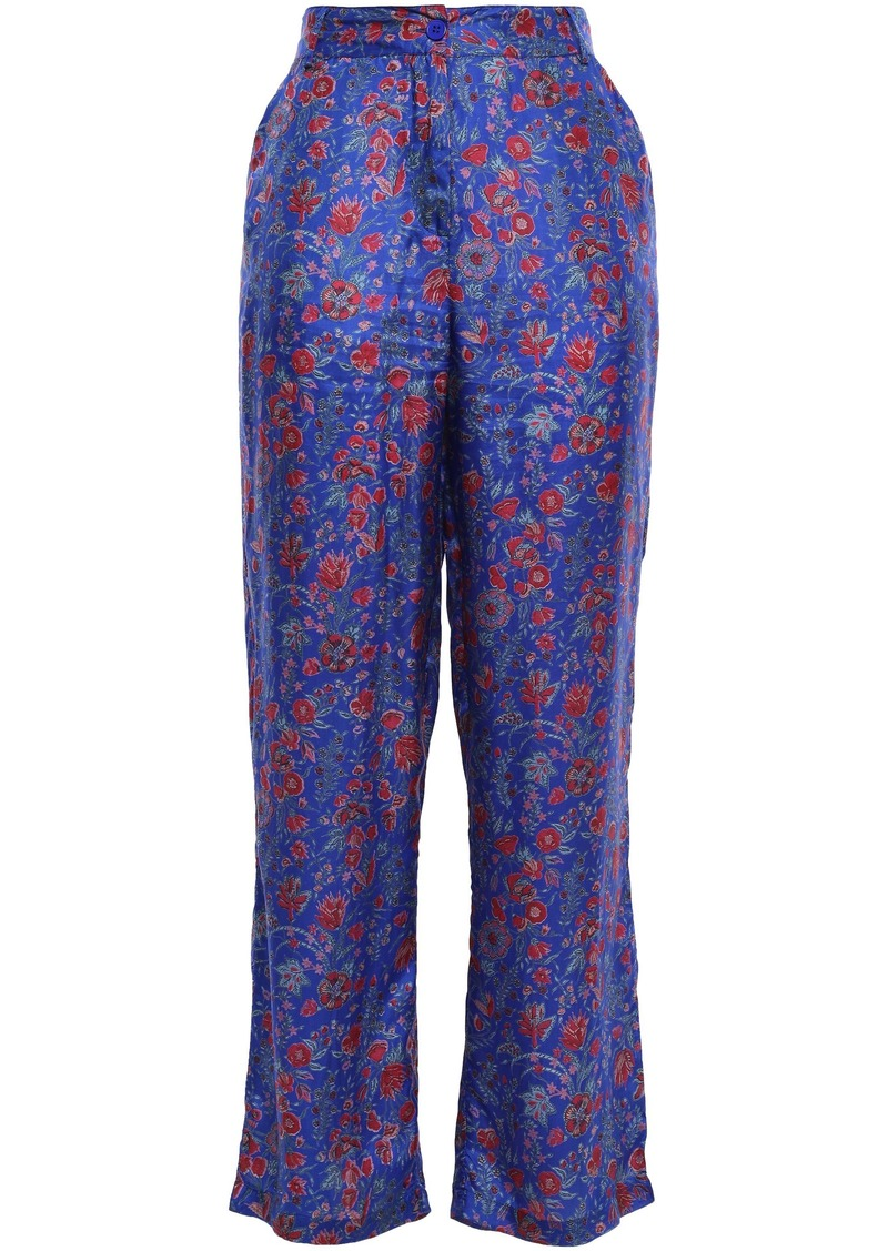 Antik Batik Woman Floral-print Silk Crepe De Chine Straight-leg Pants Cobalt Blue