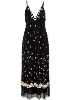 Antik Batik Woman Tahira Bead-embellished Georgette Maxi Slip Dress Black