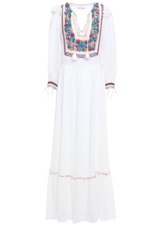 Antik Batik Woman Tasseled Crochet-paneled Cotton-gauze Maxi Dress Off-white