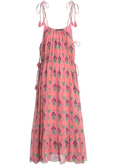 Antik Batik Woman Tasseled Floral-print Cotton-gauze Maxi Dress Bubblegum