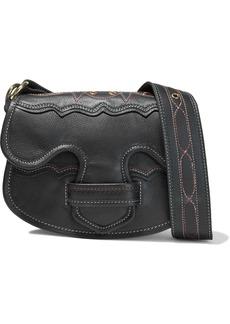 Antik Batik Woman Tyria Eyelet-embellished Pebbled-leather Shoulder Bag Black