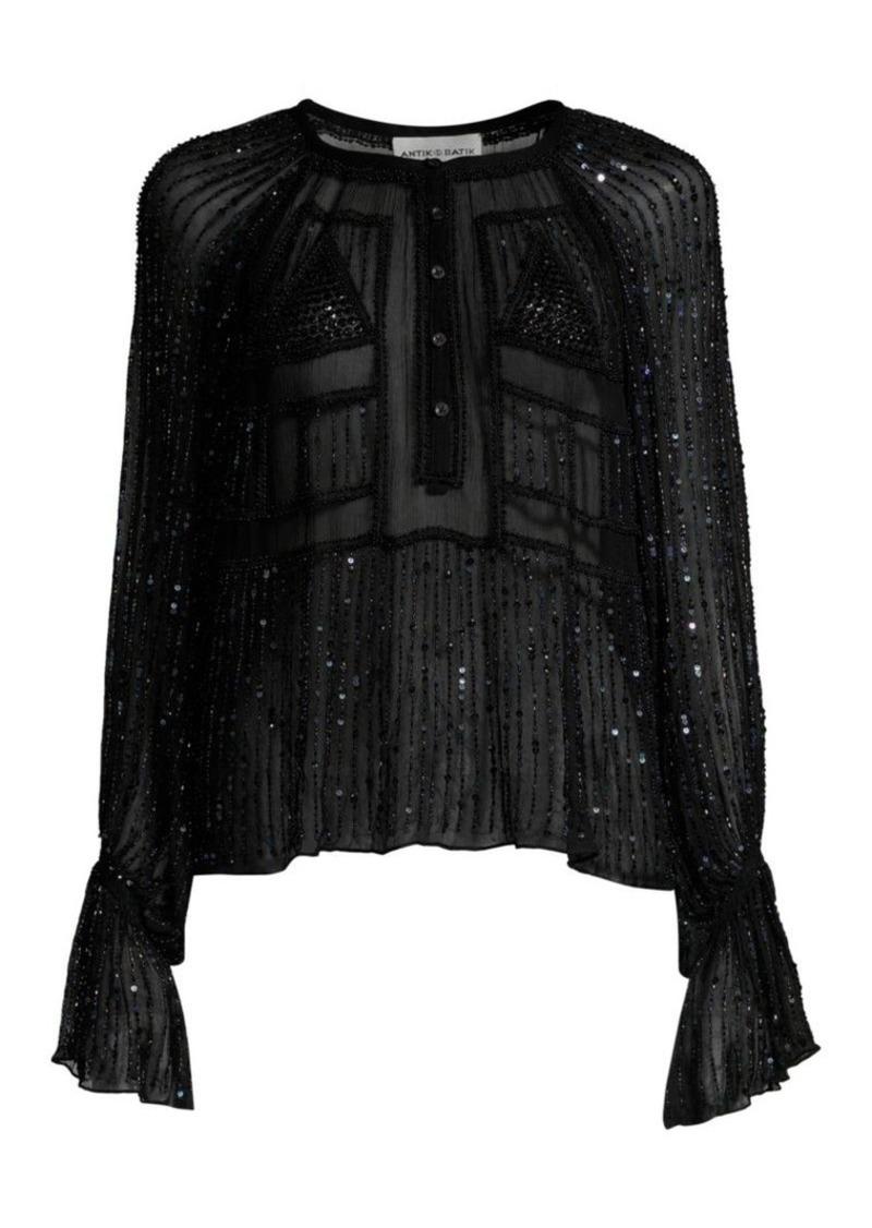 Antik Batik Birma Beaded Long Sleeve Blouse