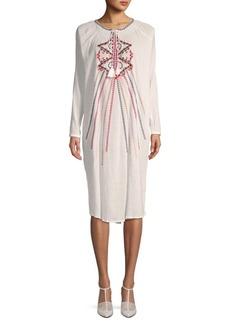 Antik Batik Embroidered Cotton Shift Dress