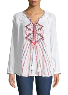 Antik Batik Embroidery Tie Blouse