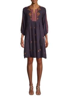 Antik Batik Split-Neck Cotton A-Line Dress