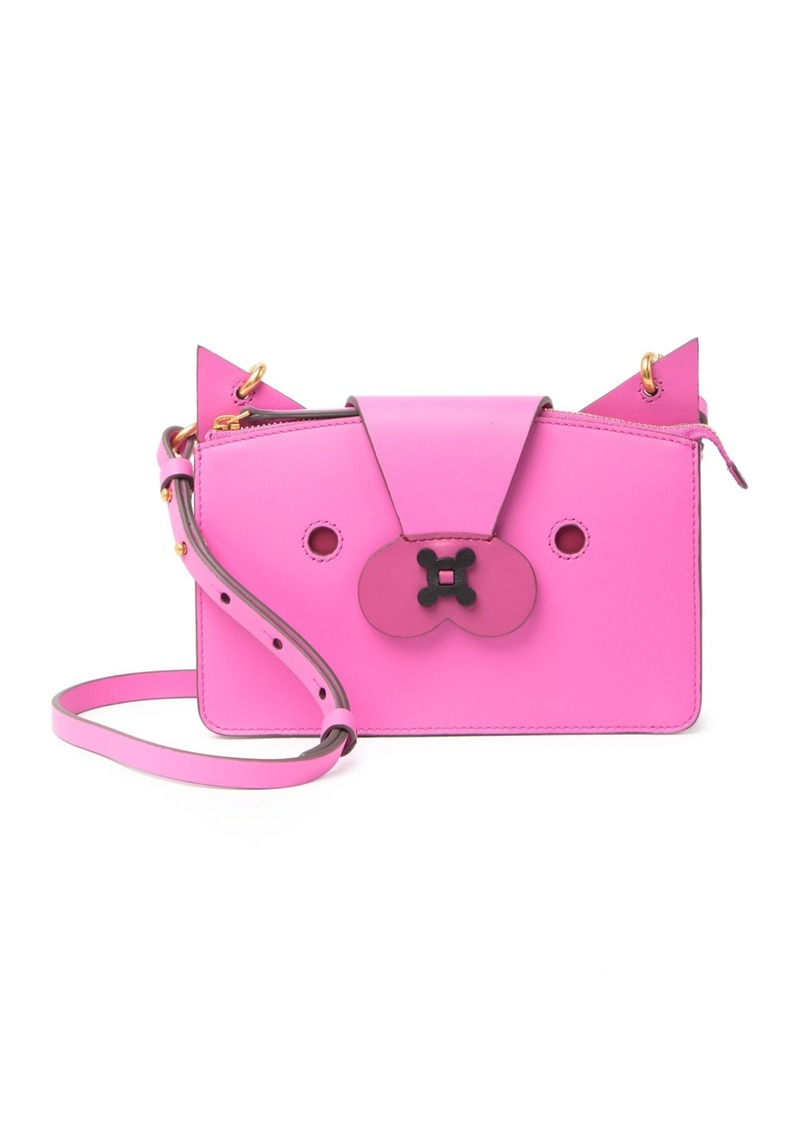Anya Hindmarch Animal Face Leather Crossbody Pouch