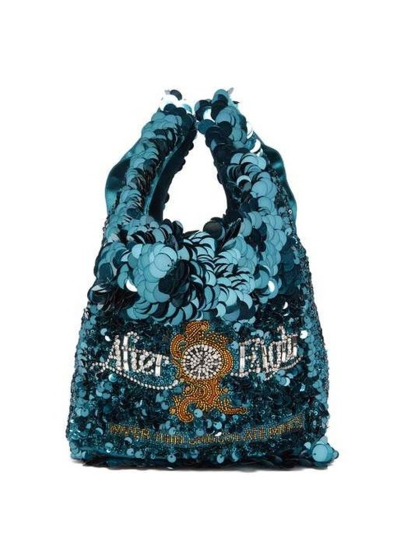 Anya Hindmarch After Eights sequinned recycled-satin tote bag