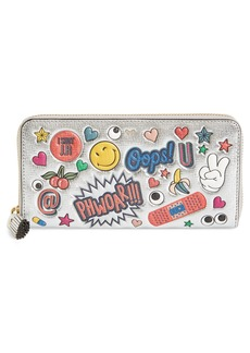 Anya Hindmarch Allover Stickers Leather Zip Around Wallet