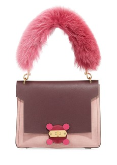 Anya Hindmarch Bathurst XS Fur-Handle Satchel Bag