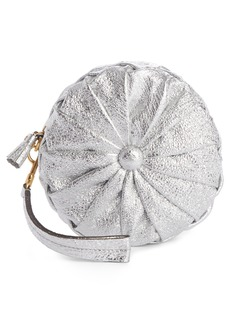 Anya Hindmarch Circle Pillow Metallic Leather Clutch