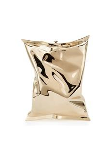 Anya Hindmarch Crisp Packet Metal Clutch Bag  Golden