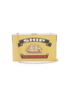 Anya Hindmarch Imperial Ships matchbox-print leather clutch