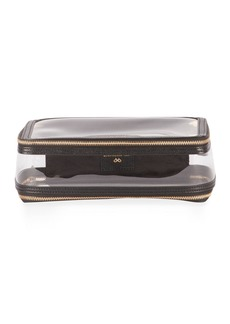 Anya Hindmarch Inflight Patent Leather Clear Pouch  Black
