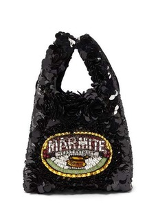 Anya Hindmarch Marmite sequinned recycled-satin tote bag