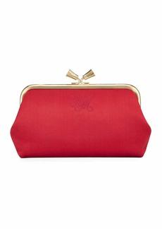Anya Hindmarch Maud Tassel Satin Clutch Bag  Dark Pink