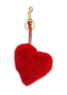 Anya Hindmarch Mink Fur & Leather Heart Charm