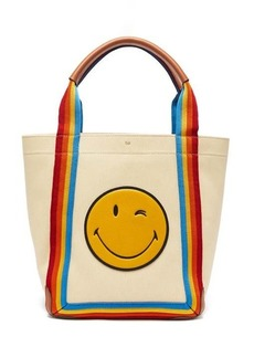 Anya Hindmarch Pont small stripe-trimmed canvas tote bag