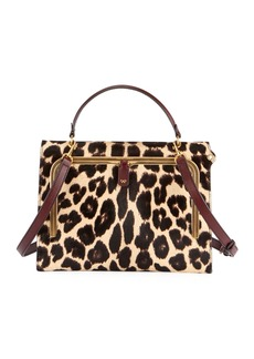 Anya Hindmarch Postbox Leopard Top-Handle Bag with Pull-Down Catch
