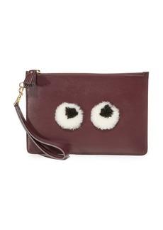 Anya Hindmarch Shearling Eyes Wristlet