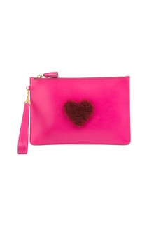 Anya Hindmarch Shearling Heart Zip Wristlet Pouch Bag
