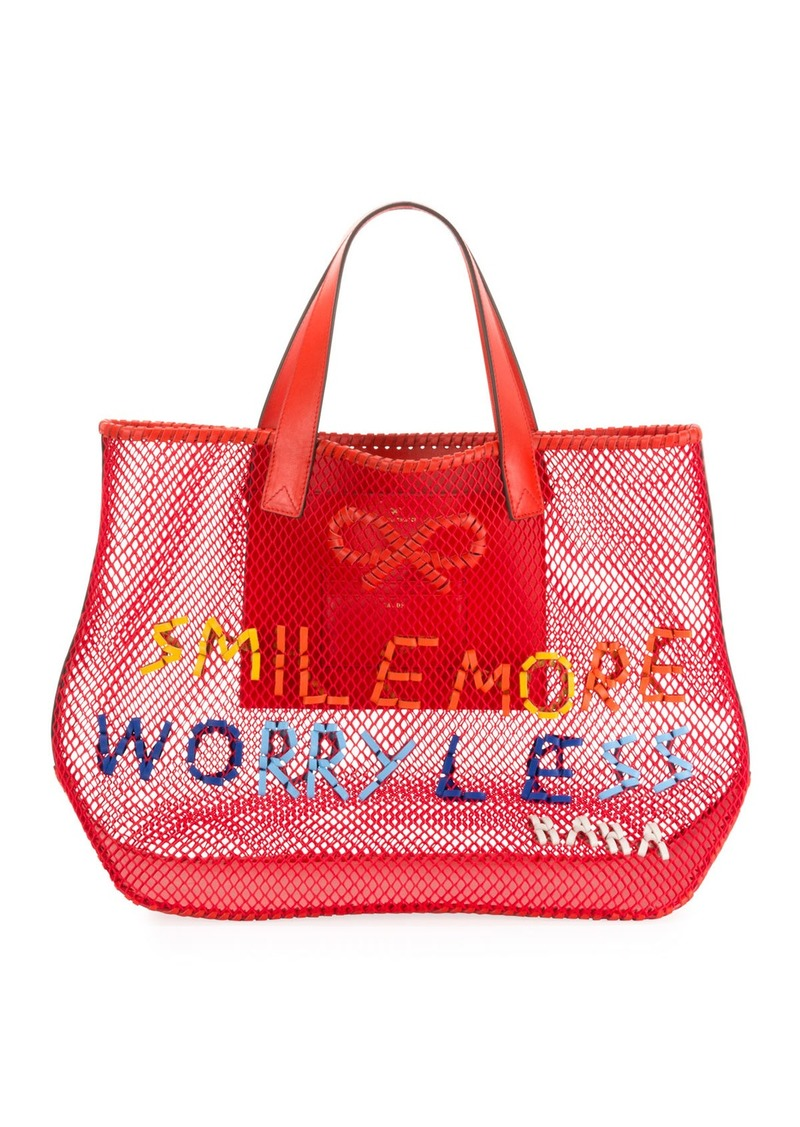 Anya Hindmarch Smile More Weave Mesh Tote Bag