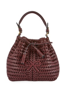 Anya Hindmarch The Neeson Mini Drawstring Bucket Bag  Burgundy