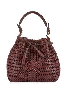 Anya Hindmarch The Neeson Mini Drawstring Bucket Bag  Burgundy