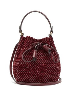 Anya Hindmarch The Neeson mini whipstitch-velvet bucket bag
