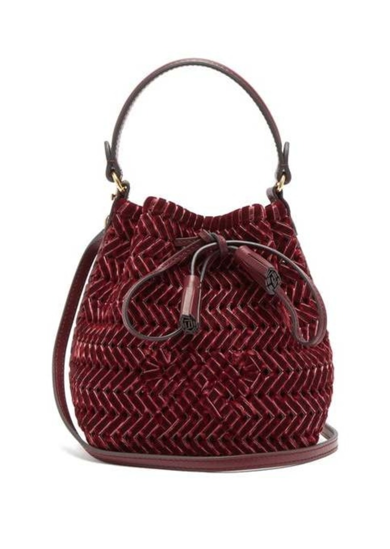 Anya Hindmarch The Neeson mini whipstitch-velvet bucket bag