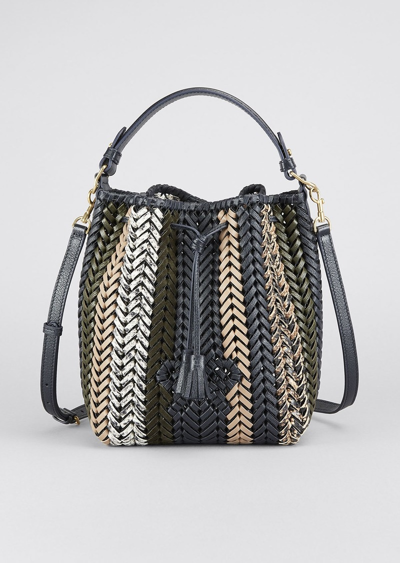 Anya Hindmarch The Neeson Small Stripe Capra Leather Drawstring Bucket Bag