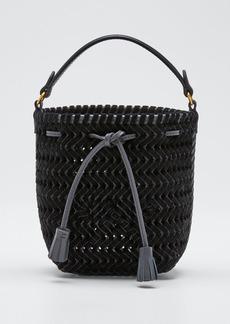 Anya Hindmarch The Neeson Tiny Velvet Ribbon Drawstring Bucket Bag  Black