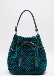 Anya Hindmarch The Neeson Tiny Velvet Ribbon Drawstring Bucket Bag  Green