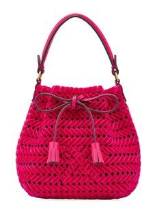 Anya Hindmarch The Neeson Tiny Velvet Ribbon Drawstring Bucket Bag  Magenta