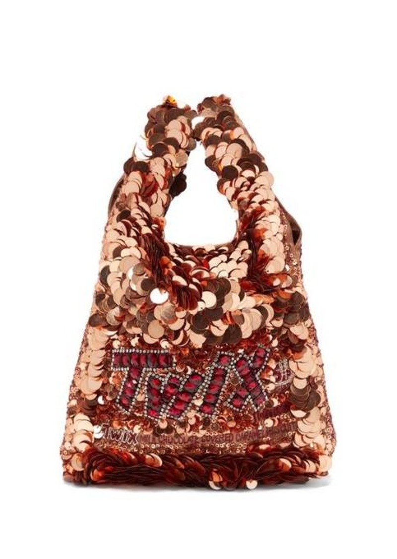 Anya Hindmarch Twix sequinned recycled-satin tote bag